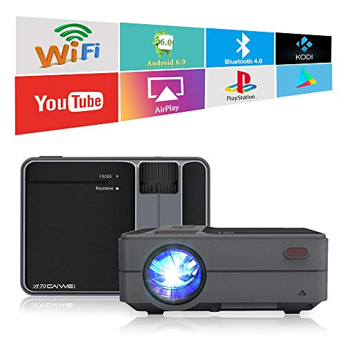 CAIWEI 3200 Lumen LED LCD Smart Video Projectors with WiFi Bluetooth 2019 Newest HDMI USB Airplay Wireless Home Theater Video Projectors for Gaming iPhone Smartphones Massive Apps