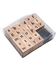 Oytra Stamps Wooden Alphabet Small Rubber Letters with Ink Pad for Art Craft Scrapbooking ABCD Stamping