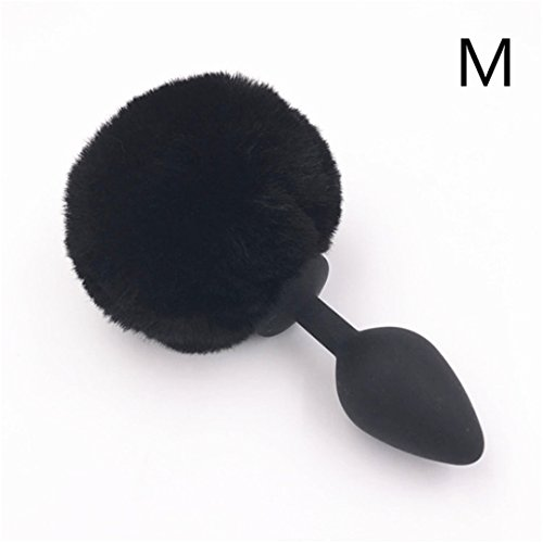 Anal Plug 3 Color Butt Plug Silicone Smooth Touch Butt Stopper Hairy Rabbit Tail Anus Bead Anal Sex Toy For Men And Women H8-60A M black