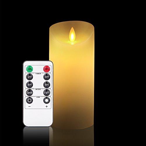 LED Kerzen, Flammenlose kerzen 250 Stunden Dekorations-Kerzen-Säulen (15,2 cm,je Ø 8cm). Realistisch flackernde LED-Flammen aus Echtwachs in Elfenbeinfarbe. 10-Tasten Fernbedienung mit 24 Stunden Timer-Funktion (1*1, Ivory)