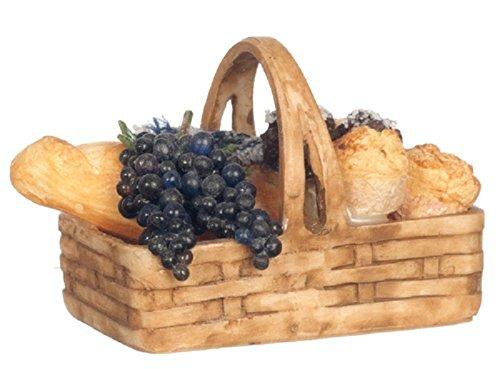 - Falcon Miniatures Dollhouse Miniature Basket of Bread w/ Grapes