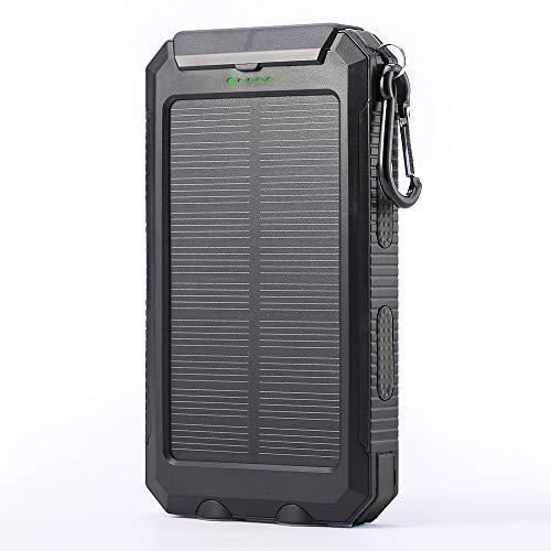 Solar Charger, 10000mAh Portable Waterproof Solar Power Bank, Dual USB External Backup Battery Pack with 2 Flashlights for Travelling, Hiking, Cellphone Charging