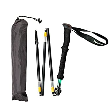 (1 Pole or 1 Pair) Compact Foldable Trekking Pole by Sterling Endurance, Ultralight, Adjustable Height, Extra Long EVA Foam Handle [1 Year Warranty]