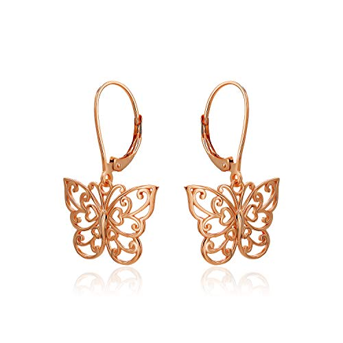 (River Island Classic Rose Gold Flashed Sterling Silver Filigree Butterfly Leverback Dangle Drop Earrings)