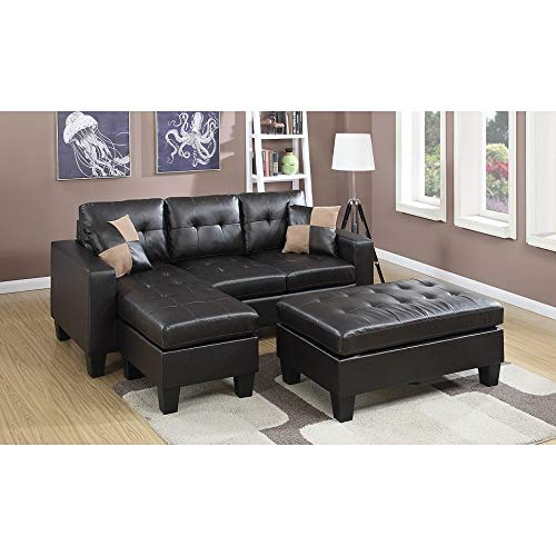 Poundex PDEX-F6927 Espresso Bonded Leather Piacenza Sectional Sofa with Ottoman, Brown