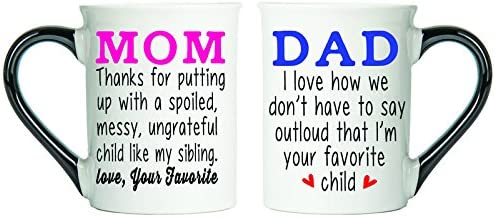 Mom & Dad Mugs,( Favorite Child) Set Of Two Coffee Cups, Spouse Mugs, Ceramic Mugs, Custom Gifts By Tumbleweed