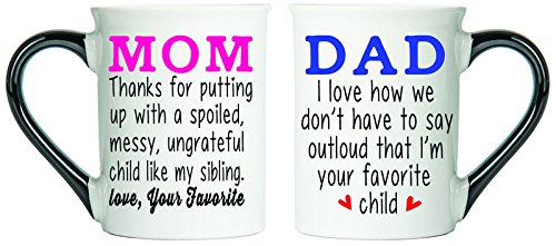 Cottage Creek Mom Dad Mugs Two Large 18 Ounce Ceramic Coffee Mugs/ 1 Mom Mug And 1 Dad Mug/Funny Mom And Dad Mug Set [White] (Best Gift For My Parents Anniversary)