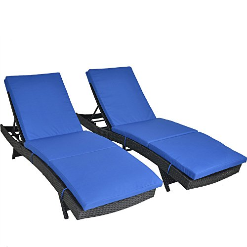 Outdoor Patio Black Rattan Wicker Adjustable Cushioned Chaise Lounge Chair(Royal Blue Cushions,Set of 2)
