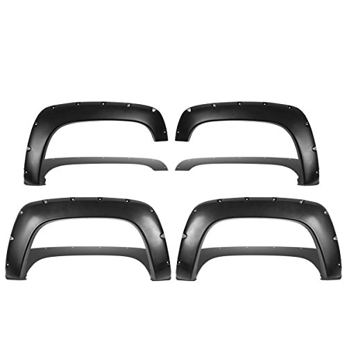 For Chevy/GMC C/K-Series GMT400 Pocket-Riveted Style ABS Plastic Side Fender Wheel Flares (Black)