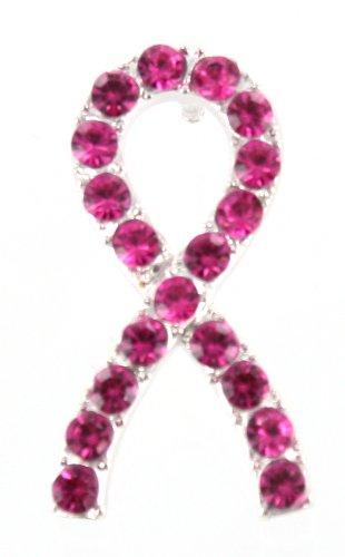 Breast Cancer Awareness Pink Crystal Ribbon Tac Pin ()