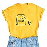 Malbaba Women Girl Funny Short Sleeve Cotton Shirts Cute Junior Graphic Tee Top Blouse Yellow