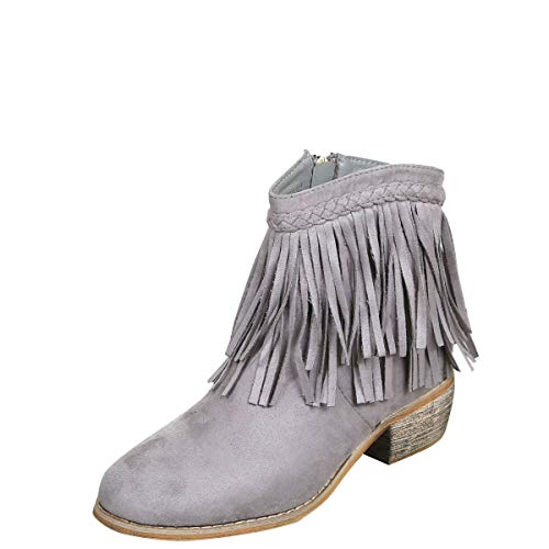 Bella Marie Womens Round Toe Med Low Heel Faux Suede Cowboy Western Fringe Ankle Boot Booties Grey
