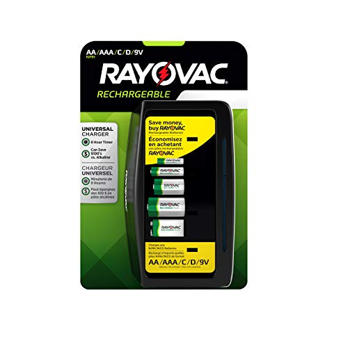 Rayovac Universal Battery Charger for Rechargeable Batteries, Aa/AAA/c/d & 9v, 3 Count (Rayovac Cordless Battery)