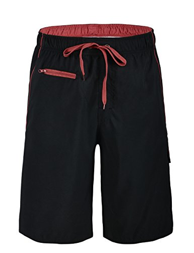 (Unitop Men's Board Shorts Lightweight Quick Dry Assorted Swim Shorts Black&Red 40)