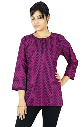 de imprim Crateurs Ethniques Tunique et KOKOM Indiens Coton Violet Robe Kurta Magenta Haut Kurti x5wCqE