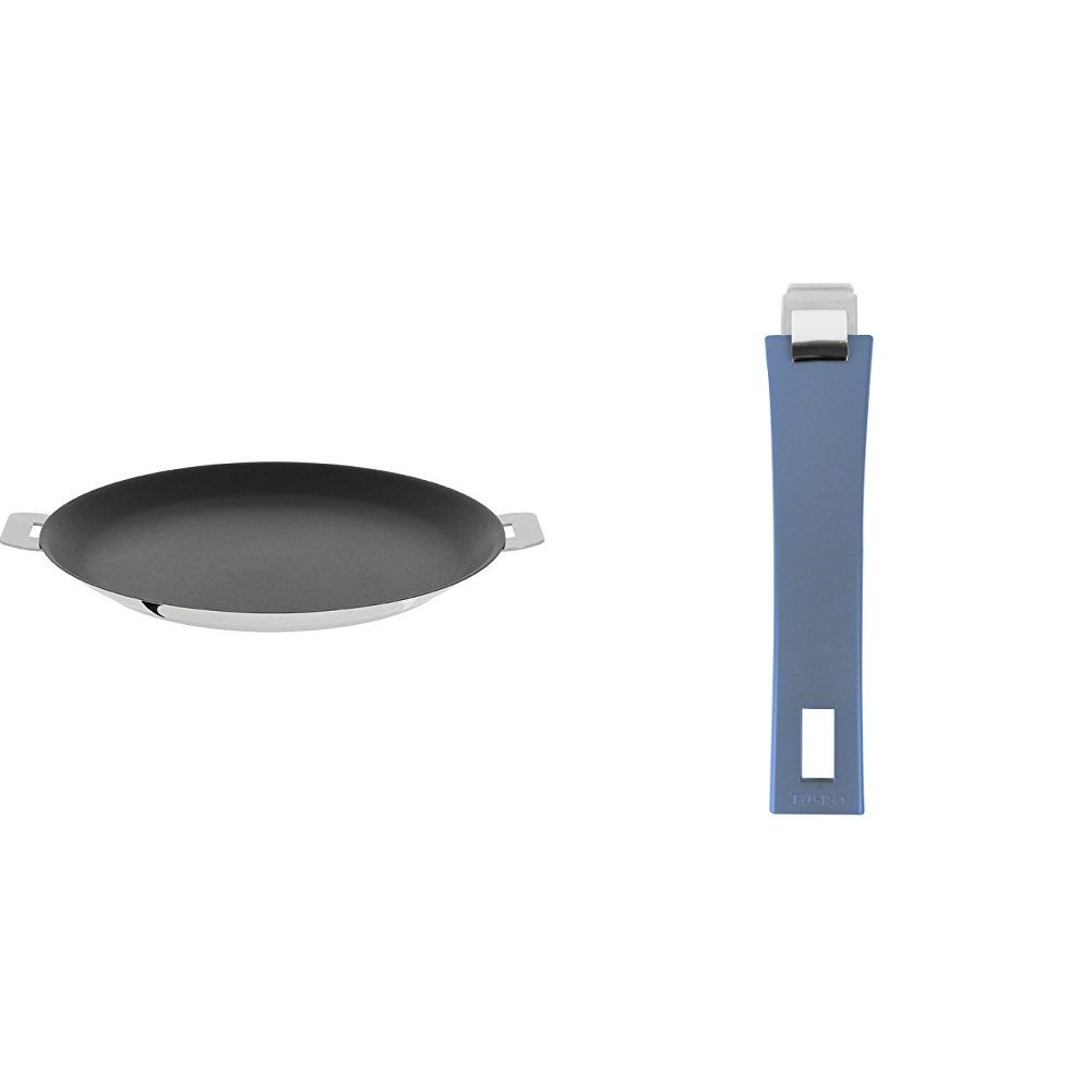 Cristel CR30QE Non-Stick Crepe Pan, Silver, 12'' with Cristel Mutine Pmabl Handle, Long, Lavender