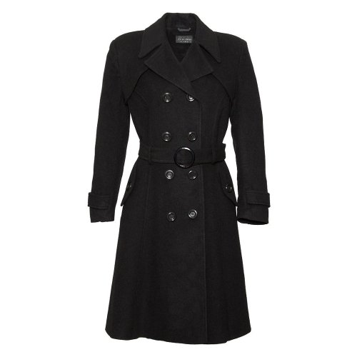 De La Creme Women`s Wool & Cashmere Winter Long Belted Coat Black Size 6