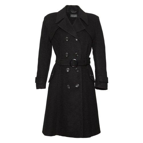 De La Creme Women`s Wool & Cashmere Winter Long Belted Coat Black Size 12