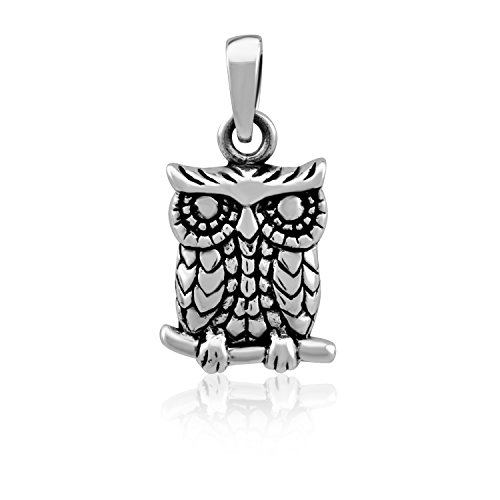 - WithLoveSilver Sterling Silver 925 Charm Cute Owl Symbol of Happiness Pendant