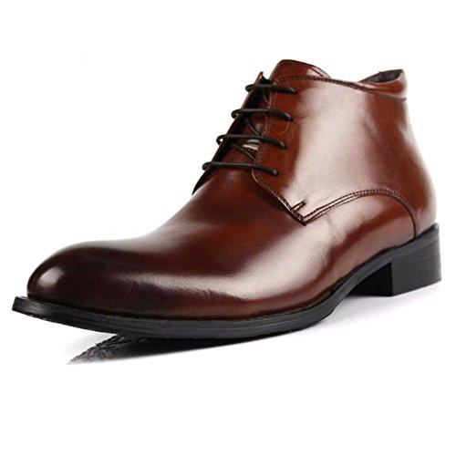 Invierno Hombres Algodón Cuero Botas Con cordones Negocio Formal Mantener Calentar Casual Negro marrón tamaño 37-44 brown