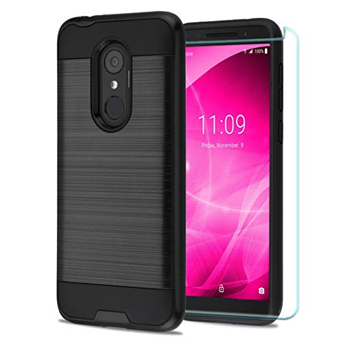 "T-Mobile REVVL 2 (5.5"") Phone Case, Comes with Tempered Glass Screen Protector, JoJoGold Brushed Hybrid, Slim Fit 2 Piece Hard Cover - Black"
