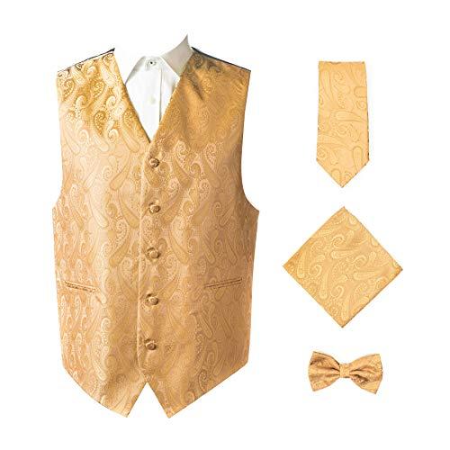Oliver George 4pc Paisley Vest Set-Gold-3XL
