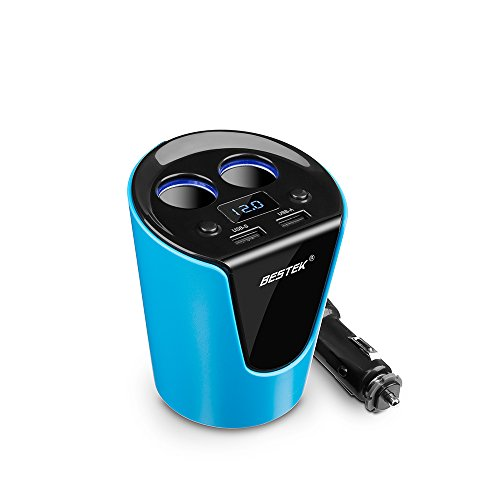 BESTEK 2-Socket Cigarette Lighter Power Adapter DC Outlet Splitter 3.1A Dual USB Car Cup Charger for iPhone 7/7 Plus, iPad, Samsung and More- Blue
