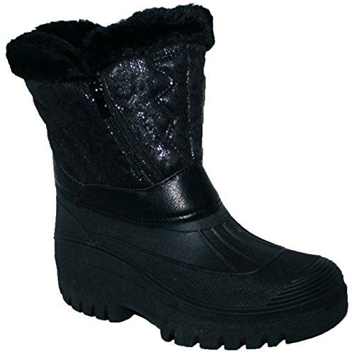 Adults Waterproof Sole Fur Lined Rain Snow Ski Mucker Boots Size 3-8 Black Twin Zip Vh7mFZNBS0