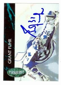 (Grant Fuhr autographed hockey card (Toronto Maple Leafs) 1992 Parkhurst #PV5 of 5)
