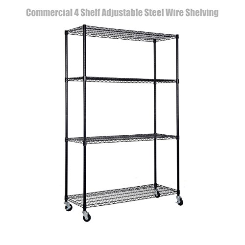 4 Tier Heavy Duty 48''x18''x72'' Layer Wire Shelving Rack Steel Shelf Adjustable Commercial Grade Construction Wire Durable Castor Wheels Weight Capacity 500 lbs Black Finish #1301  by Koonlert@shop