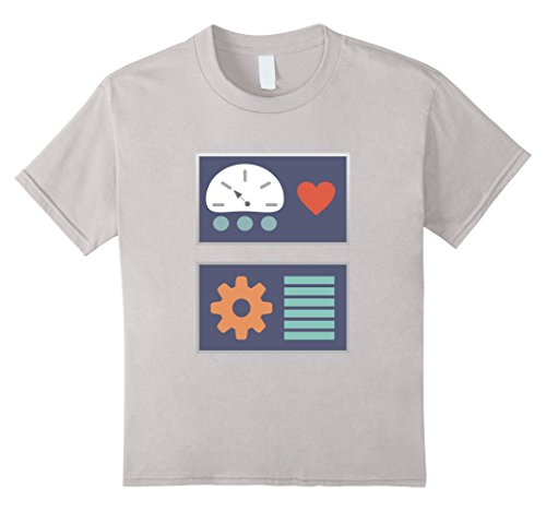 Kids Robot One Sided Halloween Costume Dress Up T-Shirt 4 Silver (Halloween Costumes For Less Money)