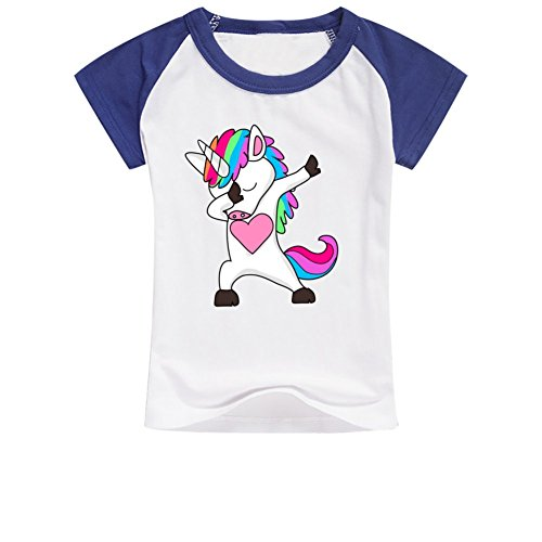 YangCH Unisex Little Boys Girls Cute Dabbing Horse Dab Hip Hop Magic Cotton Raglan Crew Neck T-Shirt for 6-10yr Old M Royal Blue by YangCH