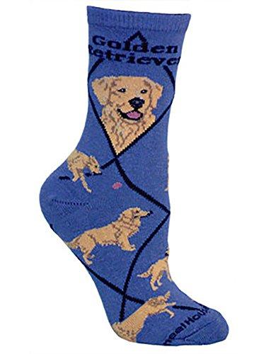 Wheel House Design Golden Retriever Fun Novelty Dog Blue Socks