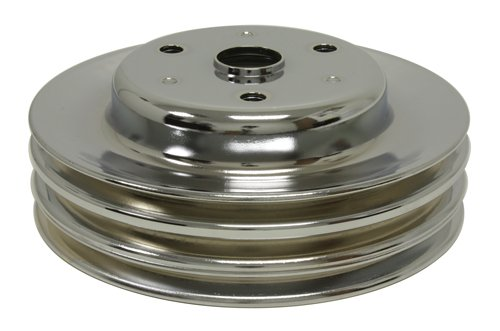 CHEVY SMALL BLOCK CHROME STEEL CRANKSHAFT PULLEY - LONG (3 GROOVE)