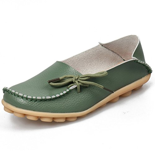 MatchLife Damen Vintage Leder Flach Pumpe Casual Schuhe Armeegrün