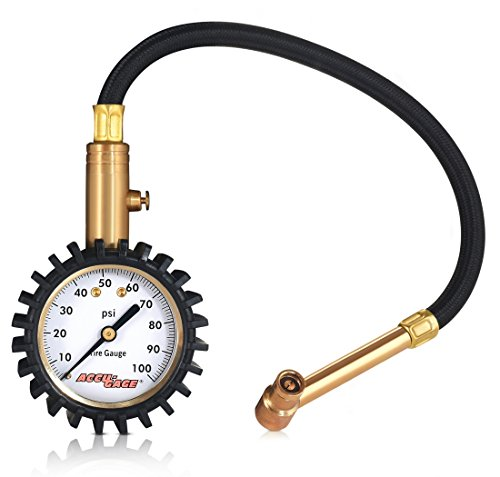 Accu-Gage RRA100X Professional Tire Pressure Gauge with Protective Rubber Guard, Right Angle Chuck, 100 PSI