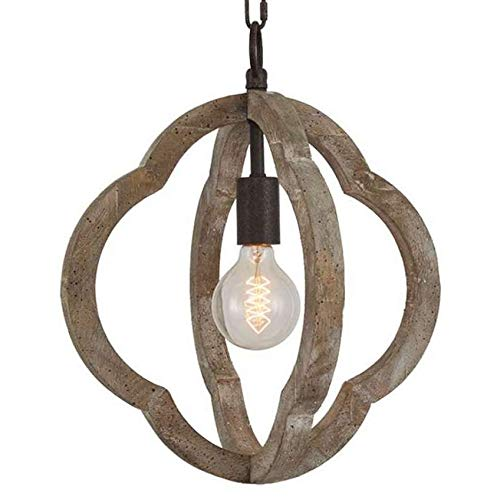 Wood and Metal Orb Frame Chandelier 1XE26 Lamp Holder American Vintage Retro Indoor Wooden Pendant Lights 13.8X13.8 Inch Antique Ceiling Lights Fixture UL Approved 5 Years Warranty (Pendant Chandelier Orb)