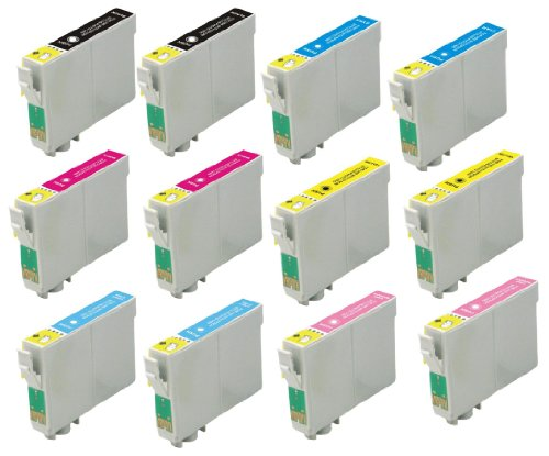 Virtual Outlet ® 12 Pack Remanufactured Inkjet Cartridges for Epson T048 #48, T048120 T048220 T048320 T048420 T048520 T048620 Compatible with Epson Stylus Photo R300, Stylus Photo R300M, Stylus Photo RX500, Stylus Photo R200, Stylus Photo RX600, Stylus P