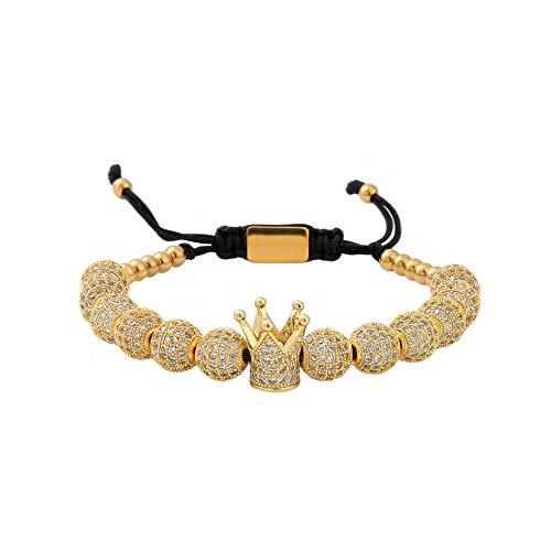 MAOCEN Men Women Bracelets Luxury Royal Crown Charm Jewelry Bracelets Gold/Silver (Gold 1pcs)