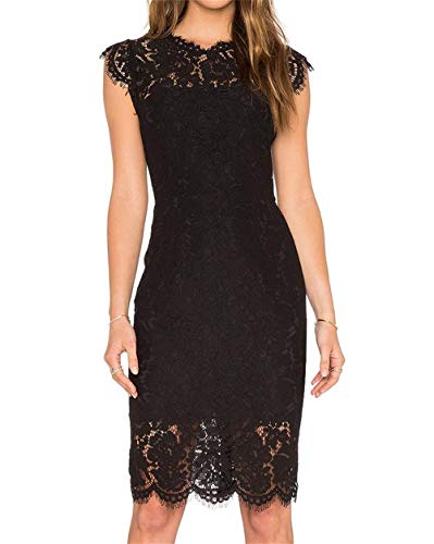 Misses Cocktail Dresses - Women's Sleeveless Floral Lace Slim Evening Cocktail Mini Dress for Party DM261 (M, Black)