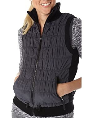 Calvin Klein Performance Puffer Vest with Sweater Rib Inserts Charcoal Medium