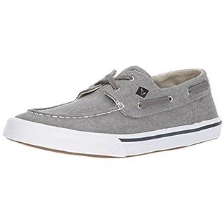 Sperry Mens Bahama II Boat Washed Sneaker, Grey, 16
