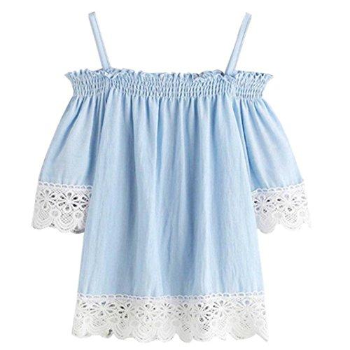 Women Lace Off Shoulder Blouse Top Loose Fit Short Sleeve Summer T Shirt GOTD (XL, Blue) ()
