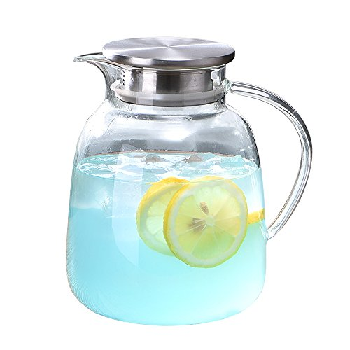 WarmCrystal, Large Glass Cold Teakettle, Pitcher and Carafe for Tea, Coffee, Lemonade and Ice Teapot (64 oz) (Pitcher With Water Lid Crystal)