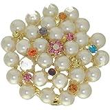 ERODIUM Or Multi couleur Crystal Pearl écharpe Clip / broche Crystal écharpe Clip / broche