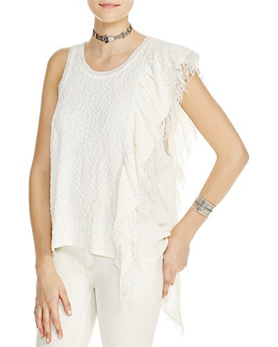 - Free People Womens Treat Me Tender Fringe Asymmetric Casual Top Ivory S