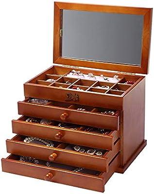 Caja para Joyas, para Pendientes, Pulseras, Anillo Caja de almacenamiento de joyería clásica de madera de 5 capas grande con espejo Earrling pulsera pulsera organizador de la joyería para mujeres y ni: