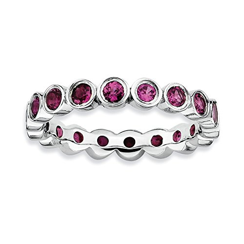 Sterling Silver Stackable Expressions Rhodolite Garnet Ring Size 7 by Jewels By Lux