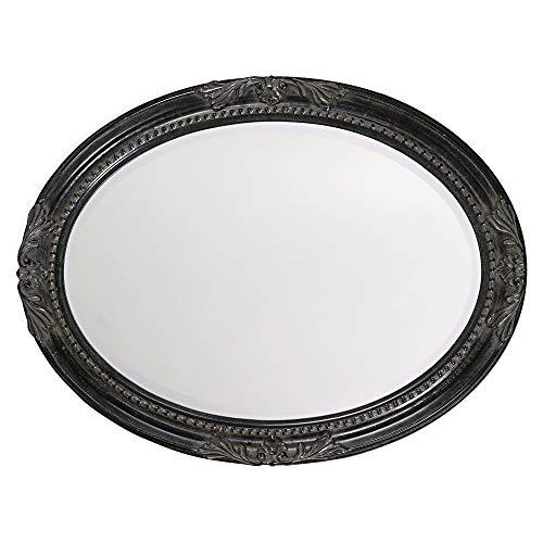 Howard Elliott Queen Ann Oval Hanging Wall Mirror, Beveled, Vanity, Antique Black, 25 x 33 Inch