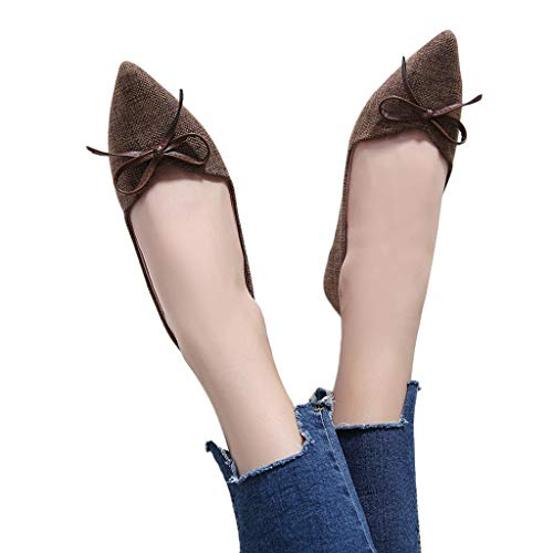 (kaifongfu Flat Shoes for Women Soft Single Shoes Ladies Wild Shoes(Brown,41))